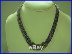 Stunning Judith Jack Art Deco Style Sterling Silver Mesh & Marcasite Necklace