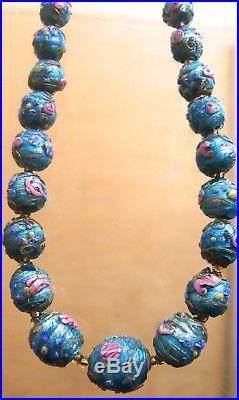 Superb Vintage Venetian Art Deco Blue Foil Wedding Cake Glass Bead Necklace