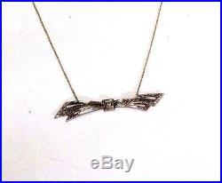 Sweet! Art Deco 14K White and Yellow Gold Filigree Diamond Bow Necklace