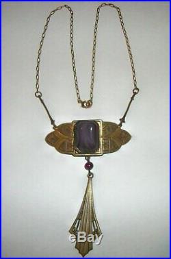 UNUSUAL Czech Art Nouveau Deco Vtg ART GLASS PENDANT Fine Brass Link NECKLACE