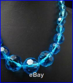 VINTAGE 1930s ART DECO FACETED AQUA BLUE GLASS BEAD NECKLACE