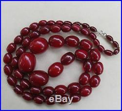 Vintage Antique Art Deco Cherry Amber Bakelite Bead Necklace103 Grams35 Long