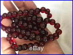VINTAGE ART DECO HUGE RED CHERRY AMBER BAKELITE NECKLACE 105 grams