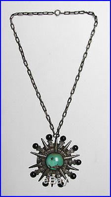 VTG William Spratling Sterling Silver Turquoise Mexican Art Deco Necklace Taxco