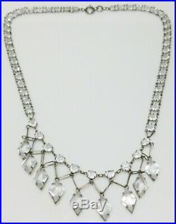 Victorian Art Deco Rock Crystal Sterling Silver Chain Drop Bib Necklace 15