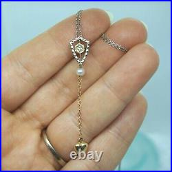 Victorian Art Deco Vintage 10k Gold DIAMOND Pearl Puffy Heart Lavalier Necklace