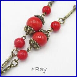 Vintage 1920s Art Deco Cherry Red Glass Flapper Sautoir Tassel Necklace