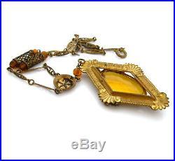 Vintage 1930s Art Deco Czech Style Topaz Glass Necklace, Rhinestone Glass Bead