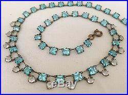 Vintage Antique Art Deco Aquamarine Paste Crystal Glass Open Back Bezel Necklace
