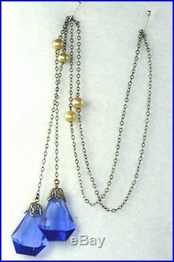 Vintage Antique Art Deco Blue Glass Lariat Necklace
