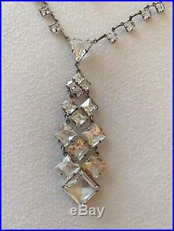 Vintage Antique Art Deco Crystal Paste Sterling Open Back Bezel Lariat Necklace