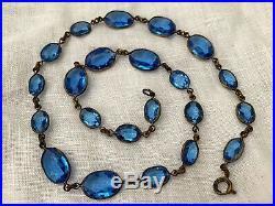 Vintage Antique Art Deco Czech Blue Glass Paste Rivière Open Bezel Set Necklace