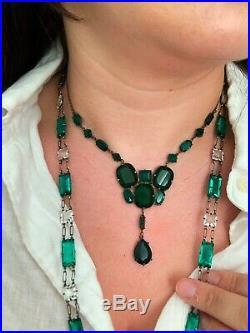 Vintage Antique Art Deco Czech Emerald Green Glass Paste Open Back Necklace