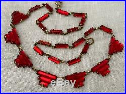 Vintage Antique Art Deco Czech Ruby Red Vauxhall Mirror Back Step Glass Necklace
