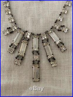 Vintage Antique Art Deco Emerald Crystal Paste Glass Open Back Lariat Necklace