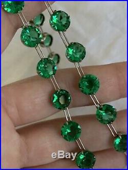 Vintage Antique Art Deco Emerald Green Crystal Paste Glass Open Back Necklace