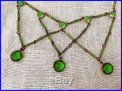 Vintage Antique Art Deco Festoon Peridot Green Paste Glass Open Bezel Necklace