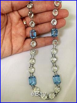 Vintage Antique Art Deco Ice Blue Crystal Glass Paste Open Back Bezel Necklace