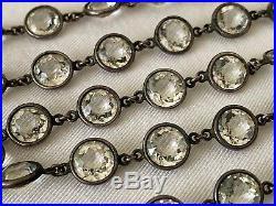 Vintage Antique Art Deco Long Crystal Paste Glass Bezel Set Open Back Necklace