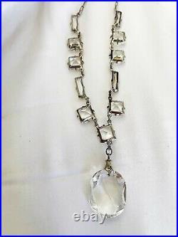 Vintage Antique Art Deco Paste Crystal Glass Open Back Sterling Drop Necklace