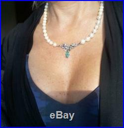 Vintage Antique Art Deco Pearl 1.00 Carat Emerald Diamond Palladium Necklace