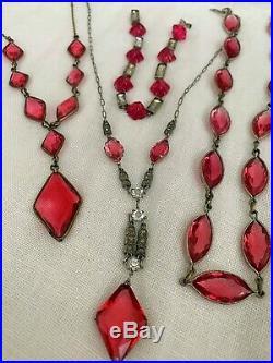 Vintage Antique Art Deco Pink Diamond Paste Crystal Open Back Lariat Necklace