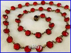 Vintage Antique Art Deco Ruby Red Paste Glass Crystal Open Back Bezel Necklace