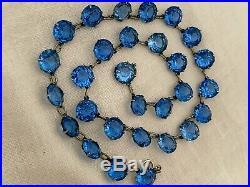 Vintage Antique Art Deco Sapphire Blue Glass Paste Open Back Bezel Set Necklace