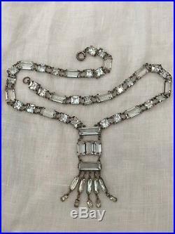 Vintage Antique Art Deco Sterling Paste Crystal Open Back Lariat Necklace