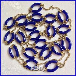 Vintage Archimede Seguso 55 Art Deco Revival Blue Murano Glass Chain Necklace