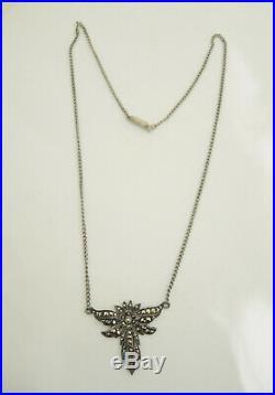Vintage Art Deco 1940's Solid Silver Marcasite Necklace