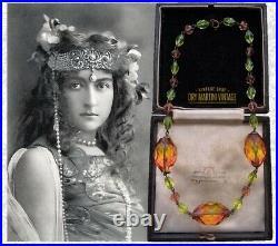 Vintage Art Deco Bohemian Czech Bicolour Uranium Beads Chunky Necklace Collector