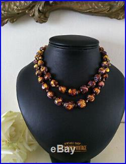 Vintage Art Deco Bohemian Czech Venetian Fiery Opal Foil Beads Necklace Gift