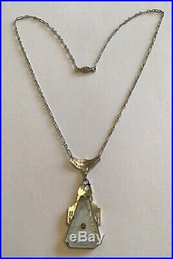 Vintage Art Deco Camphor Glass Pendant Necklace