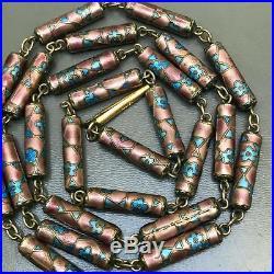 Vintage Art Deco Chinese Gold gilt Silver Enamel Tubular beaded Necklace