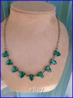 49d684cdd16a4 Vintage Art Deco Czech Era Emerald Green Faceted Open Back Crystal ...
