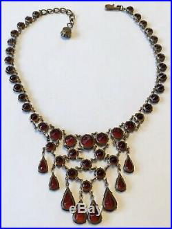 Vintage Art Deco Czech Garnet Open Back Paste Rhinestone Necklace M4