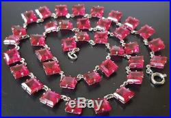 Vintage Art Deco Czech Open Back Cranberry Glass Necklace