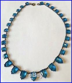 Vintage Art Deco Czech Open Back Vibrant Blue Paste Necklace