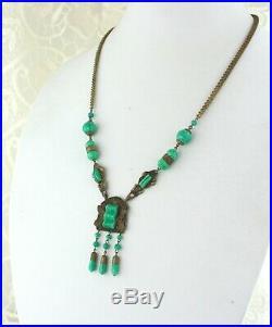 Vintage Art Deco Czech Peking Art Glass Brass Filigree Necklace
