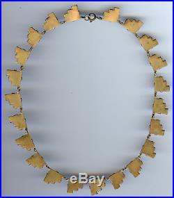 Vintage Art Deco Czech Purple Faceted Mirror Glass Necklace