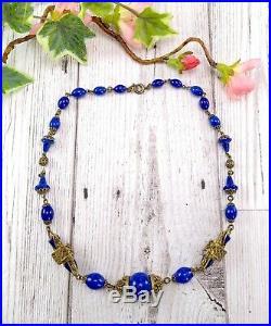 Vintage Art Deco Dark Blue Peking Glass Czech Neiger Style Necklace