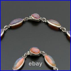 Vintage Art Deco Dragons Breath Necklace Bracelet Set Open Back Bezel Silver Set
