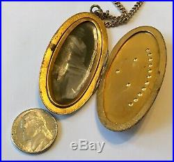 Vintage Art Deco Gold Filled Moon And Stars Locket Pendant Necklace 5n