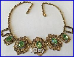 Vintage Art Deco Green Rhinestone & Filigree Necklace B4