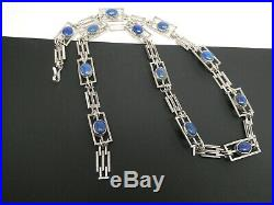 Vintage Art Deco Lapis Lazuli Rose Quartz Gemstone Double Sided Necklace 24