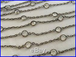 Vintage Art Deco Long Crystal Paste Glass Bezel Set Open Back Necklace