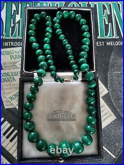 Vintage Art Deco Malachite Chunky Beads Necklace Heavy Gemstones Beautiful Gift
