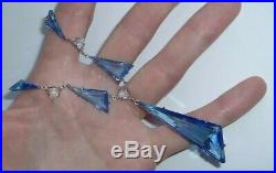 Vintage Art Deco Platinon Open Back Blue Glass Geometric Necklace