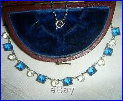 Vintage Art Deco Signed Platinin Sapphire Blue Open Back Crystal Czech Necklace